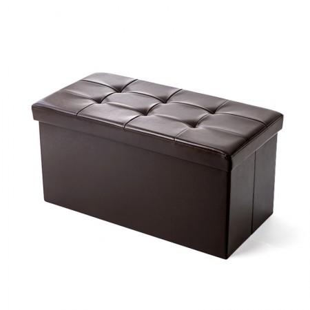 吉优百 长方形可折叠收纳箱沙发凳·110L·棕色