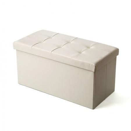 吉优百 长方形可折叠收纳箱沙发凳·110L·米白色