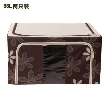 吉优百 88L可折叠经典款太阳花百纳箱·2件组·咖色