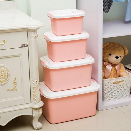 宝优妮多功能杂物收纳箱4件套DQ9096·粉红色
