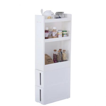 吉优百 带抽屉缝隙收纳置物组合柜·白色·白色