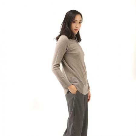 丁摩 羊绒高翻领平面羊绒衫W013·灰色