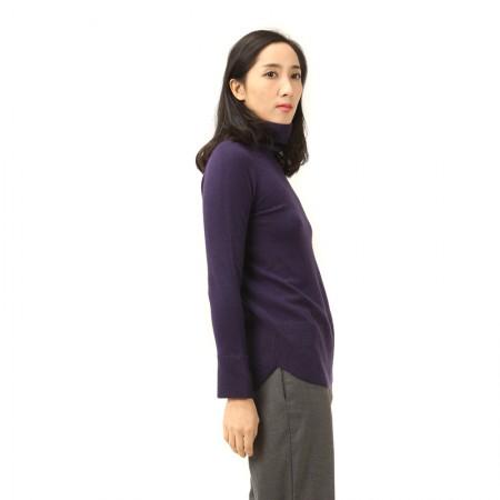 丁摩 羊绒高翻领平面羊绒衫W013·紫色