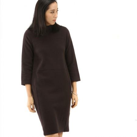 丁摩 狐狸绒圆领中长款羊毛连衣裙PMFR02·焦糖色