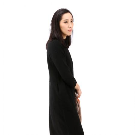 丁摩 狐狸绒圆领中长款羊毛连衣裙PMFR02·黑色