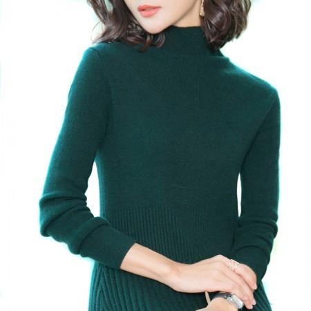 丁摩 羊毛收腰百褶半高领长袖裙7819·绿色