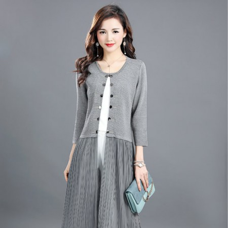 丁摩 新款冰麻针织衫外套连衣裙8801·灰色