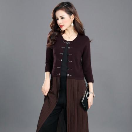 丁摩 新款冰麻针织衫外套连衣裙8801·紫红