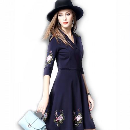丁摩 新款欧美时尚刺绣连衣裙0813·藏蓝