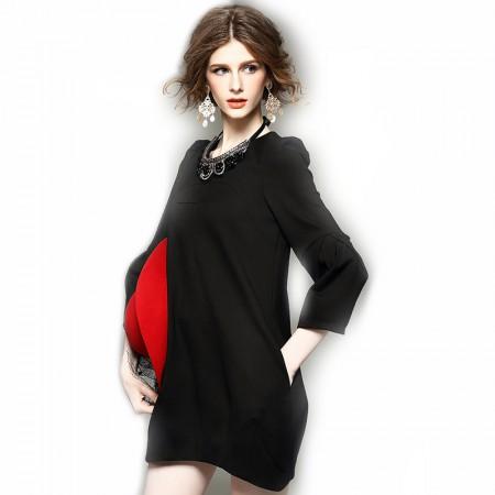丁摩 茧型包臀灯笼袖连衣裙0816·黑色