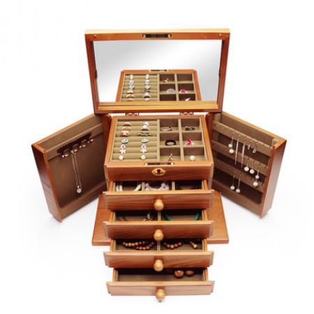弘艺堂实木首饰盒木质带锁韩国复古耳环收纳盒·仿古色