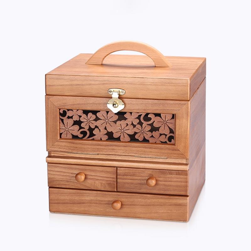 弘艺堂实木首饰盒收纳盒手提化妆盒梳妆盒带镜·原木色