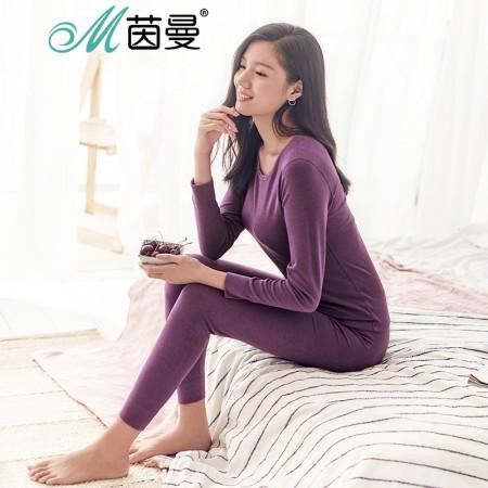 茵曼内衣 蕾丝加厚舒绒圆领睡衣薄款保暖套装女 9874486394·紫色