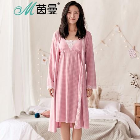 茵曼内衣 两件套性感蕾丝吊带睡衣睡裙家居服套装秋冬98734830432·粉色
