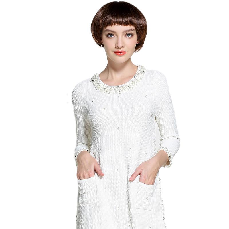 圆领长袖连衣裙_【Mareunrols圆领长袖手工钉珠连衣裙·白色】-惠买-正品拼团上惠买