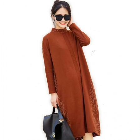 丁摩 时尚休闲羊毛连衣裙0851·焦糖色