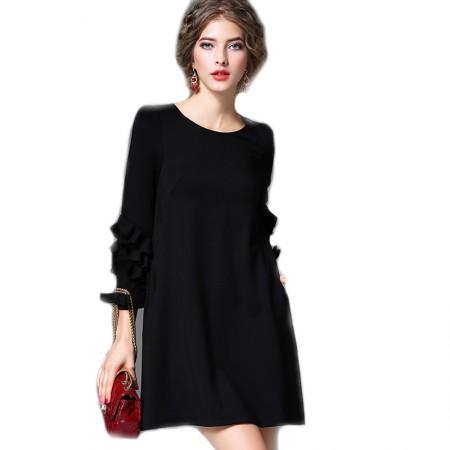 丁摩 瘦身花边秀连衣裙6109·黑色