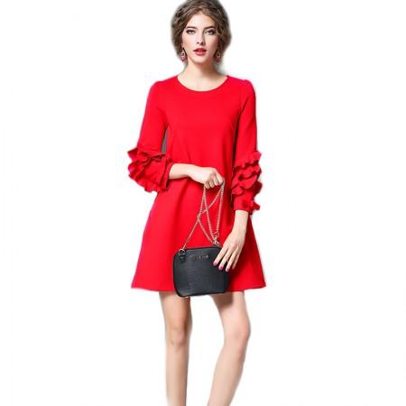 丁摩 瘦身花边秀连衣裙6109·红色