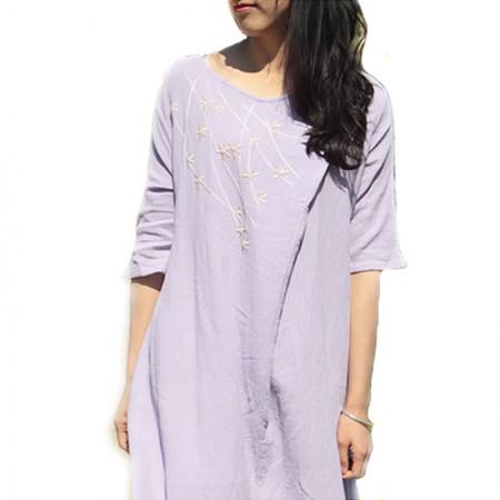 丁摩 复古刺绣大摆连衣裙8517·紫色