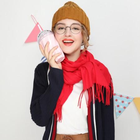 Firetrap 时尚纯色流苏边情侣款男女围巾长巾披肩·红色