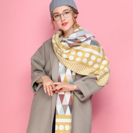 Firetrap时尚简约潮搭英伦风菱形格长巾围巾·黄色菱形格纹