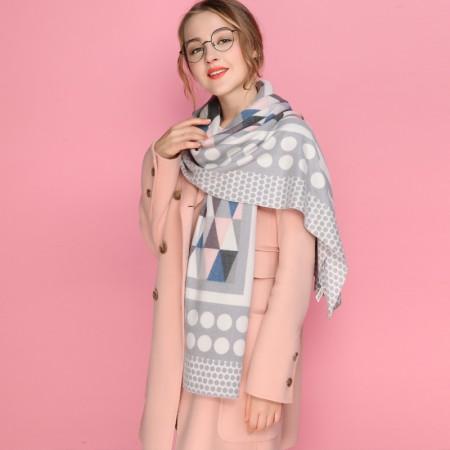 Firetrap时尚简约潮搭英伦风菱形格长巾围巾·灰色菱形格纹