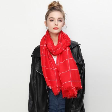 Firetrap英伦经典方格图案长巾围巾中性披肩·红色格纹
