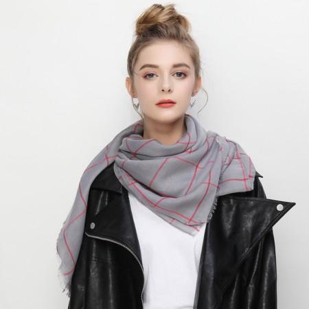 Firetrap英伦经典方格图案长巾围巾中性披肩·灰色格纹