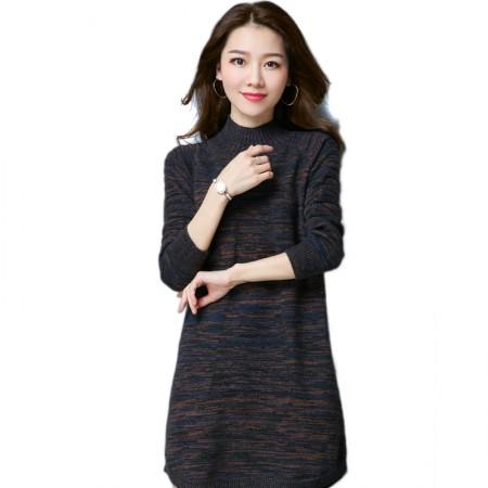 SSYAOGE 羊毛中长款宽松打底毛衣裙9732·蓝色