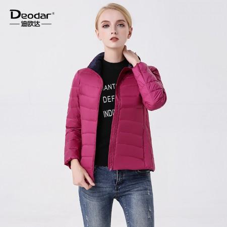 迪欧达  新款女士轻薄羽绒服·紫红