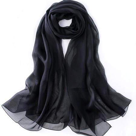 丁摩 桑蚕丝沙滩巾素色真丝披肩围巾W013·黑色