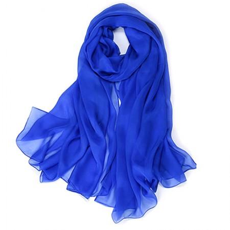 丁摩 桑蚕丝沙滩巾素色真丝披肩围巾W013·宝蓝