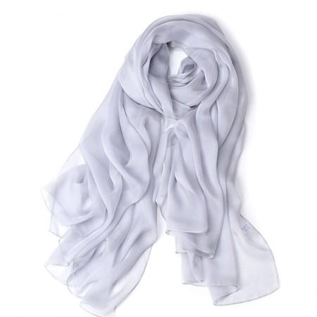 丁摩 桑蚕丝沙滩巾素色真丝披肩围巾W013·浅灰