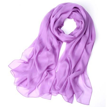 丁摩 桑蚕丝沙滩巾素色真丝披肩围巾W013·紫罗兰