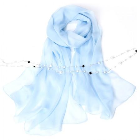 丁摩 桑蚕丝沙滩巾素色真丝披肩围巾W013·浅蓝色