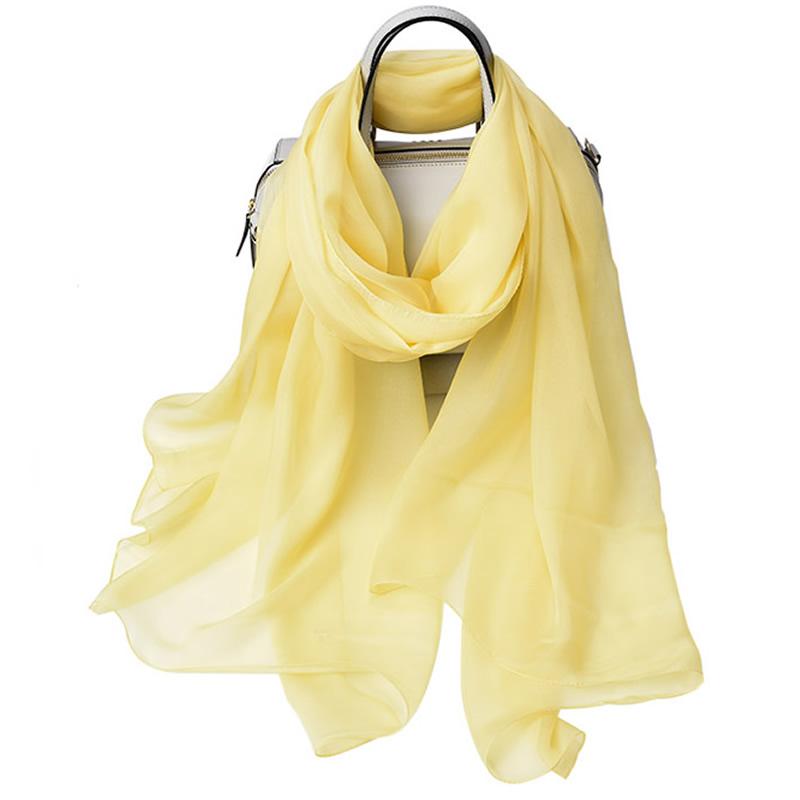 丁摩 桑蚕丝沙滩巾素色真丝披肩围巾W013·明黄色