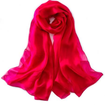 丁摩 桑蚕丝沙滩巾素色真丝披肩围巾W013·玫红色