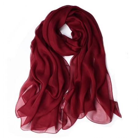 丁摩 桑蚕丝沙滩巾素色真丝披肩围巾W013·酒红色