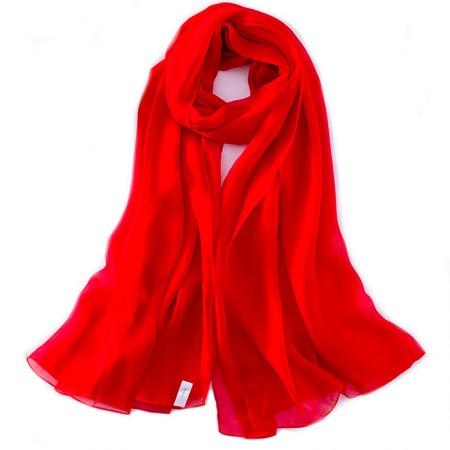 丁摩 桑蚕丝沙滩巾素色真丝披肩围巾W013·中国红