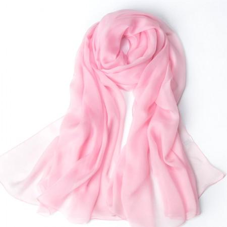 丁摩 桑蚕丝沙滩巾素色真丝披肩围巾W013·粉红色