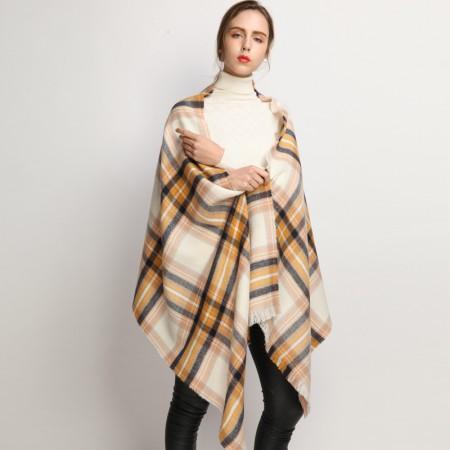 Firetrap 时尚百搭复古英伦风围巾长巾披肩·黄色格纹
