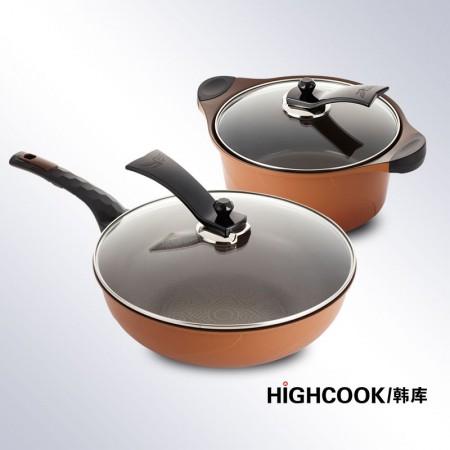 韩库 韩国进口3D黄金炒汤锅套组·巧克力色
