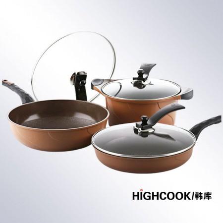 韩库 韩国进口3D黄金无烟炒煎汤套组·巧克力色