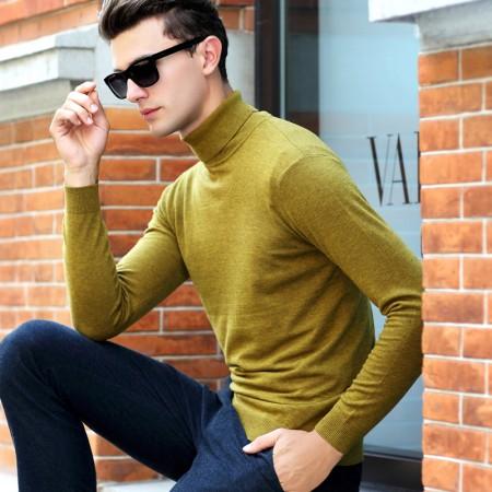 皮尔卡丹纯羊毛衫男半高领秋冬长袖厚款毛衣打底衫·黄色