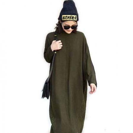 丁摩 时尚休闲羊毛连衣裙0851·藏青色