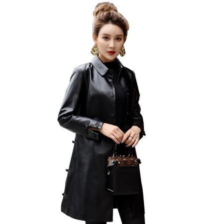 今升 方领单排扣复古风绵羊皮皮风衣中长款女外套·黑色