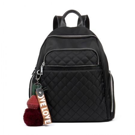 海谜璃(HMILY)时尚个性防水牛津布双肩包菱格休闲女士背包大容量小挂饰包包 H7033·黑色