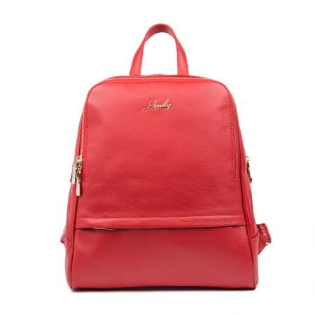 海谜璃(HMILY)欧美头层牛皮女士双肩包时尚潮流百搭背包简约大气学院风潮包 H7022·红色