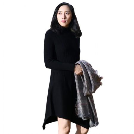 SSYAOGE 羊毛不规则修身羊毛衫7226·黑色