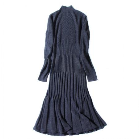 丁摩 羊毛收腰百褶半高领长袖裙7819·灰色